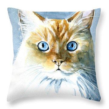 Doll Face Flame Point Himalayan Cat Painting Throw Pillow