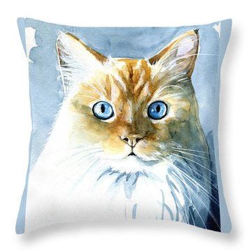 Doll Face Flame Point Himalayan Cat Painting Throw Pillow