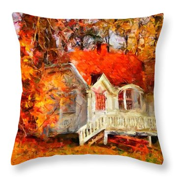 Doll House And Foliage Throw Pillow