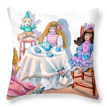 Doll Tea Party Throw Pillow