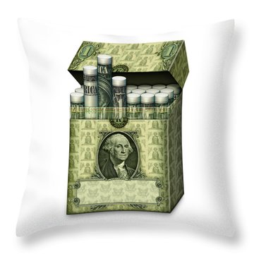 Dollar Cigarettes Throw Pillow