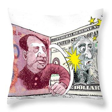 Dollar Vs Yen Throw Pillow