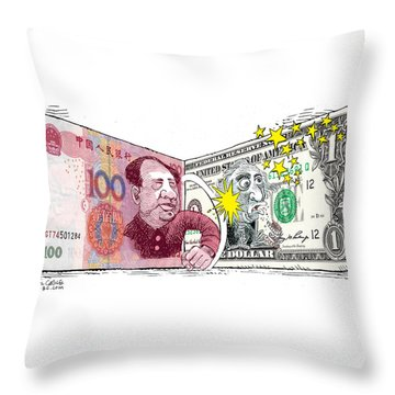 Dollar Vs Yen Throw Pillow