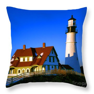 Throw Pillow featuring the photograph Dollhouse Portland Head Light by Olivier Le Queinec