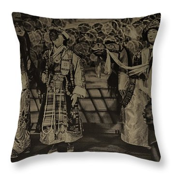 Dolls At The Ceremony Throw Pillow by Rajiv Chopra