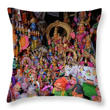 Dolls In The Shop Window Throw Pillow