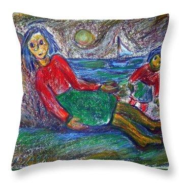 Dolls On The Beach Throw Pillow