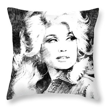 Dolly Parton Bw Portrait Throw Pillow by Mihaela Pater