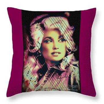 Dolly Parton - Digital Art Painting Throw Pillow