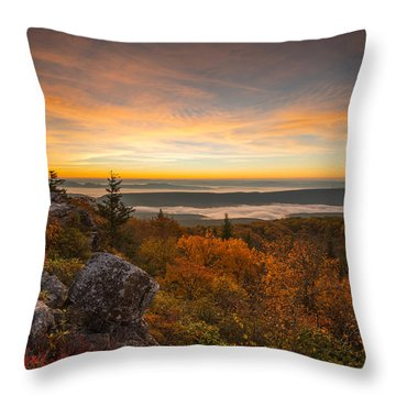 Dolly Sods Wilderness Peak Fall Sunrise Throw Pillow