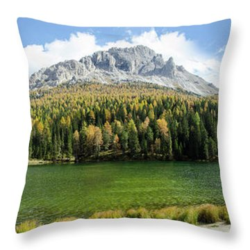 Dolomite Mountain Lake Panaorama Throw Pillow