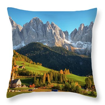 Dolomite Village In Autumn Throw Pillow