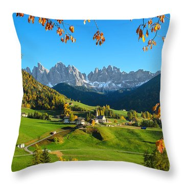 Dolomites Mountain Village In Autumn In Italy Throw Pillow