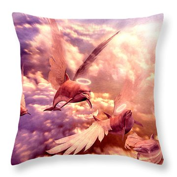 Dolphin Angels Throw Pillow by Robby Donaghey