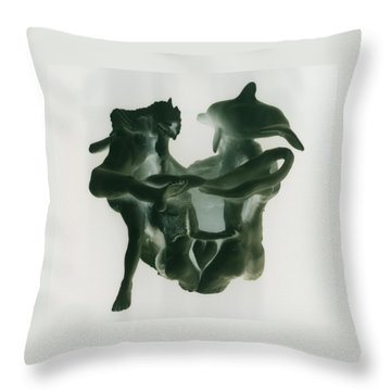 Dolphin Bonds Throw Pillow by Frederick Dost