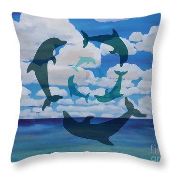 Dolphin Cloud Dance Throw Pillow