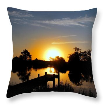 Dolphin Cove Sunrise Throw Pillow by Benanne Stiens
