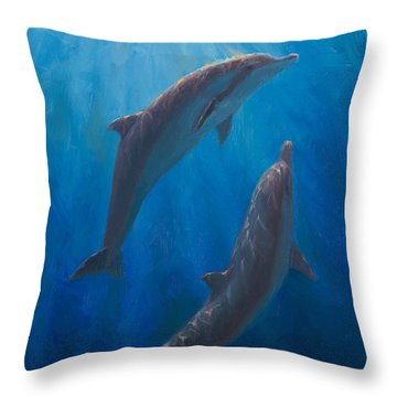 Dolphin Dance - Underwater Whales - Ocean Art - Coastal Decor Throw Pillow