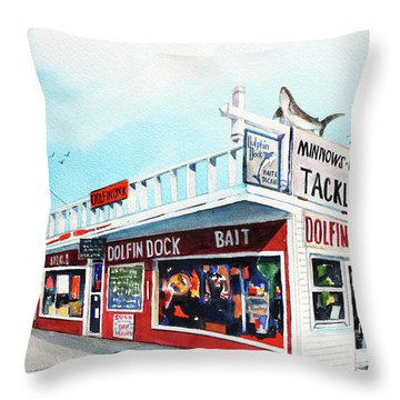 Dolphin Dock I Throw Pillow