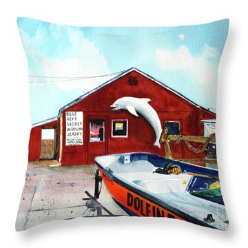 Dolphin Dock II Throw Pillow