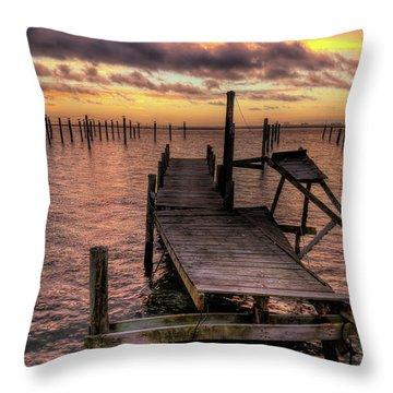 Dolphin Dock Throw Pillow by John Loreaux