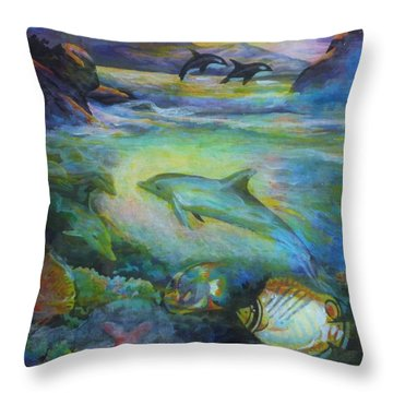 Throw Pillow featuring the painting Dolphin Fantasy by Denise Fulmer