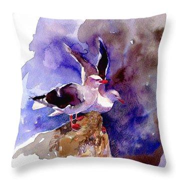 Dolphin Gulls Throw Pillow