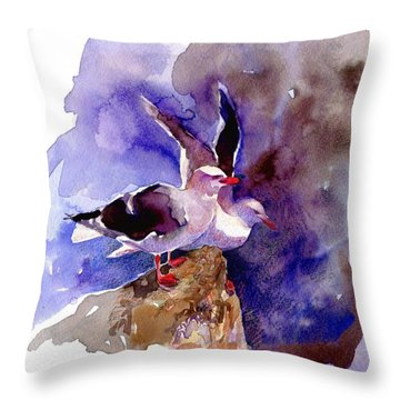 Dolphin Gulls Throw Pillow