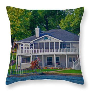 Dolphin House Throw Pillow by Julie Grace