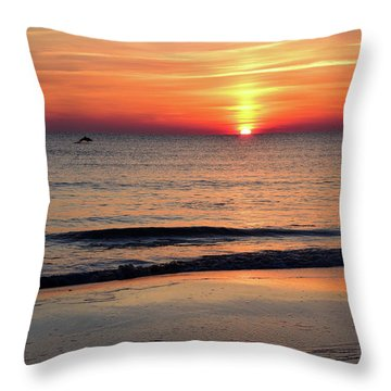 Dolphin Jumping In The Sunrise Throw Pillow