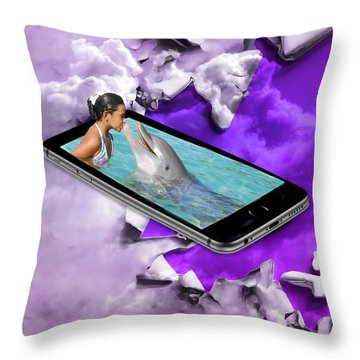 Dolphin Love Throw Pillow