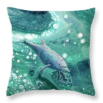 Throw Pillow featuring the painting Dolphin Magic by Darice Machel McGuire