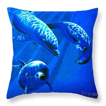 Dolphin Playing  Throw Pillow