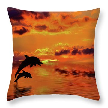Throw Pillow featuring the digital art Dolphin Silhouette Sunset By Kaye Menner by Kaye Menner