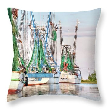 Dolphin Tail - Docked Shrimp Boats Throw Pillow