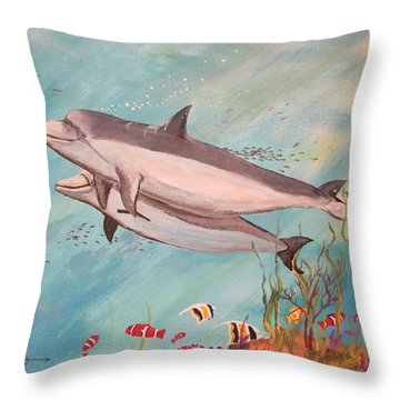 Dolphin Tales Throw Pillow