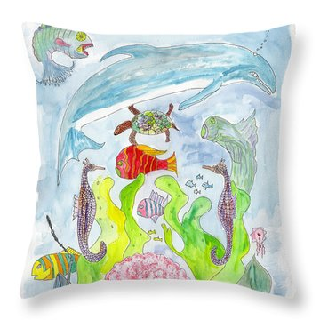 Dolphin With Pink Sea Scallop Throw Pillow
