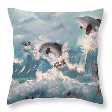 Dolphins At Play Throw Pillow