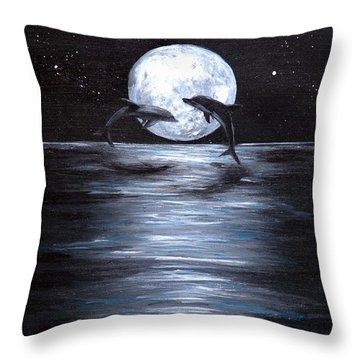 Dolphins Dancing Full Moon Throw Pillow