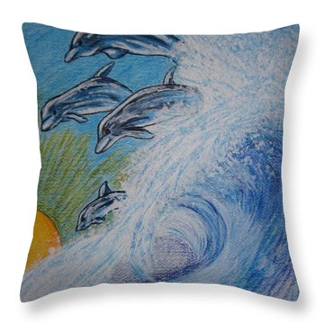 Dolphins Jumping In The Waves Throw Pillow