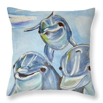Dolphins Throw Pillow by Loretta Nash