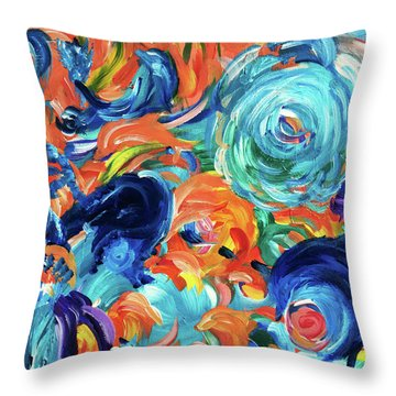 Dolphins Playing In Peonies Throw Pillow