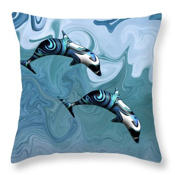 Dolphins Playing In The Waves Throw Pillow