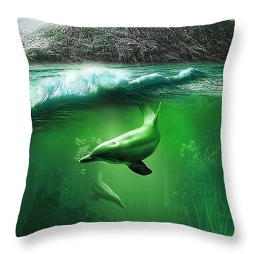 Dolphins Throw Pillow by Svetlana Sewell