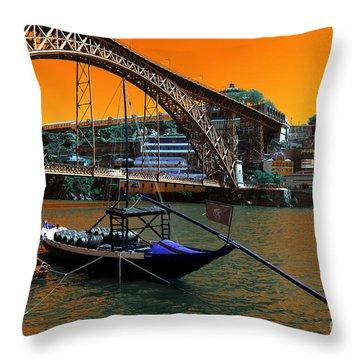 Throw Pillow featuring the photograph Dom Luis Bridge Pop Art by John Rizzuto