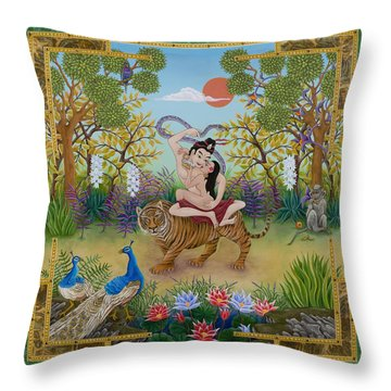 Dombi And The Dakini Throw Pillow by Nadean O'Brien