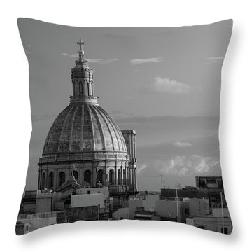 Dome Of Our Lady Of Mount Carmel In Valletta, Malta Throw Pillow