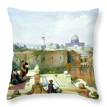 Dome Of The Rock In The Background Throw Pillow by Munir Alawi