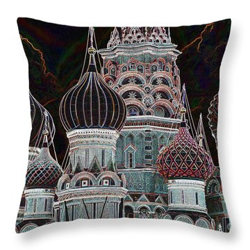 Domes Of St. Basil Cw Throw Pillow by Steven Liveoak