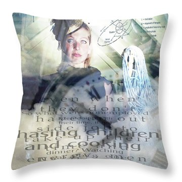 Domestic Considerations Throw Pillow by Ann Tracy